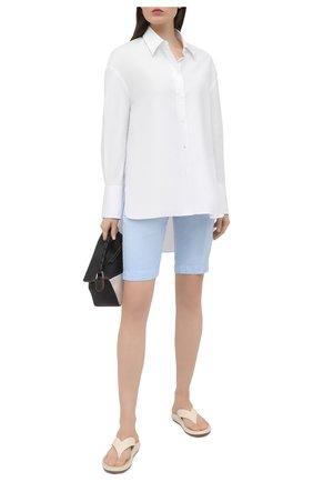 Женские льняные шорты 120% LINO голубого цвета, арт. T0W2153/0253/000 | Фото 2