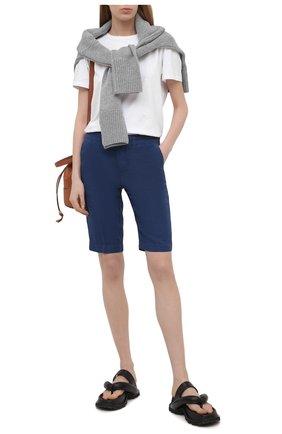 Женские льняные шорты 120% LINO синего цвета, арт. T0W2153/0253/000 | Фото 2