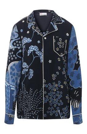 Женская шелковая рубашка REDVALENTINO синего цвета, арт. VR3ABF15/5M0 | Фото 1