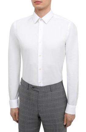 Мужская хлопковая сорочка BOSS белого цвета, арт. 50447265 | Фото 3