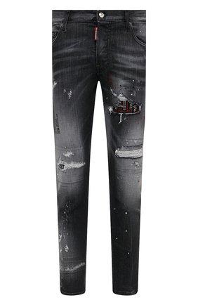 Мужские джинсы DSQUARED2 темно-серого цвета, арт. S74LB0926/S30503 | Фото 1 (Материал внешний: Хлопок, Деним; Длина (брюки, джинсы): Стандартные; Стили: Панк, Гранж; Силуэт М (брюки): Узкие; Детали: Потертости; Кросс-КТ: Деним)