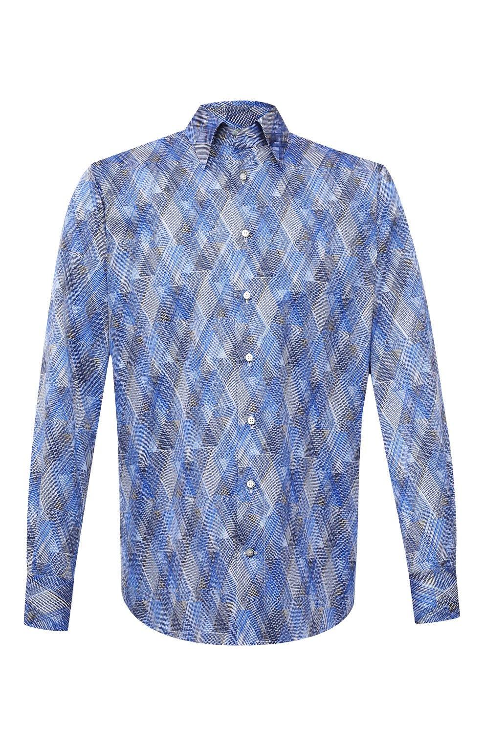 Мужская хлопковая рубашка ZILLI синего цвета, арт. MFV-3411-2142/0001   Фото 1