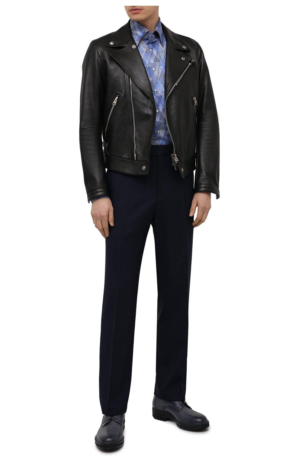 Мужская хлопковая рубашка ZILLI синего цвета, арт. MFV-3411-2142/0001   Фото 2