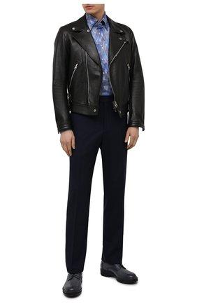 Мужская хлопковая рубашка ZILLI синего цвета, арт. MFV-3411-2142/0001 | Фото 2