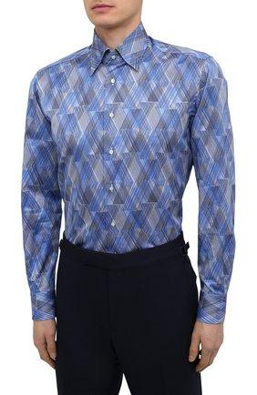 Мужская хлопковая рубашка ZILLI синего цвета, арт. MFV-3411-2142/0001   Фото 3