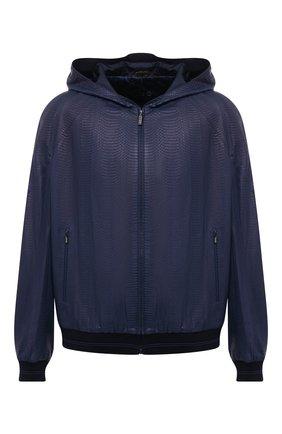 Мужской кожаный бомбер ZILLI синего цвета, арт. MAT-PLAYM-01339/0001/62-68 | Фото 1 (Длина (верхняя одежда): Короткие; Рукава: Длинные; Материал подклада: Шелк; Мужское Кросс-КТ: Кожа и замша; Кросс-КТ: Куртка; Стили: Кэжуэл; Принт: Без принта; Big sizes: Big Sizes)