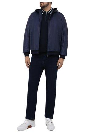 Мужской кожаный бомбер ZILLI синего цвета, арт. MAT-PLAYM-01339/0001/62-68 | Фото 2 (Длина (верхняя одежда): Короткие; Рукава: Длинные; Материал подклада: Шелк; Мужское Кросс-КТ: Кожа и замша; Кросс-КТ: Куртка; Стили: Кэжуэл; Принт: Без принта; Big sizes: Big Sizes)