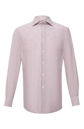 Мужская сорочка из хлопка и льна BRIONI коричневого цвета, арт. RCA10N/P005R | Фото 1 (Длина (для топов): Стандартные; Материал внешний: Лен, Хлопок; Рукава: Длинные; Случай: Формальный; Принт: Полоска; Стили: Классический; Рубашки М: Regular Fit)