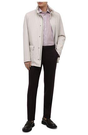 Мужская сорочка из хлопка и льна BRIONI коричневого цвета, арт. RCA10N/P005R | Фото 2 (Длина (для топов): Стандартные; Материал внешний: Лен, Хлопок; Рукава: Длинные; Случай: Формальный; Принт: Полоска; Стили: Классический; Рубашки М: Regular Fit)