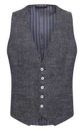 Мужской жилет изо льна и хлопка GIORGIO ARMANI синего цвета, арт. 1SGGK020/T02CB | Фото 1 (Материал внешний: Лен; Материал подклада: Синтетический материал; Длина (верхняя одежда): Короткие; Стили: Классический; Мужское Кросс-КТ: Жилет-классика)