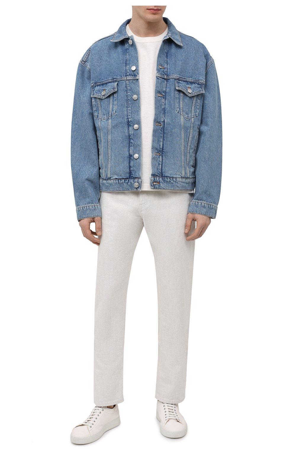 Мужские кожаные кеды ALDO BRUE кремвого цвета, арт. ABG06L-CC.S.960   Фото 2 (Материал внутренний: Натуральная кожа; Подошва: Массивная)