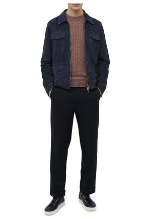 Мужские кожаные кеды ALDO BRUE темно-синего цвета, арт. ABG06L-CM.S.960 | Фото 2 (Материал внутренний: Натуральная кожа; Подошва: Массивная)