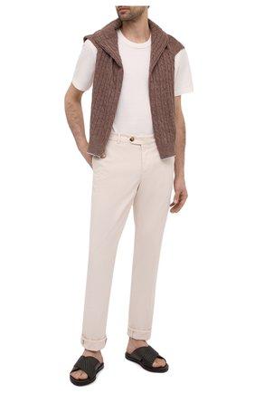 Мужские кожаные шлепанцы ERMENEGILDO ZEGNA темно-коричневого цвета, арт. A4290X-HHPTA   Фото 2 (Материал внутренний: Натуральная кожа; Материал внешний: Кожа)
