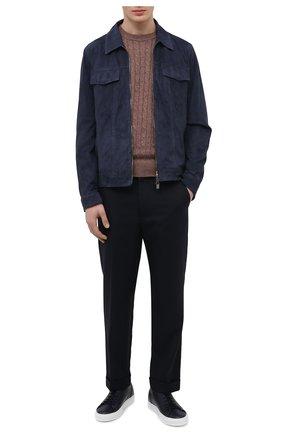 Мужские кожаные кеды DOUCAL'S темно-синего цвета, арт. DU2623ERICUV055IB00 | Фото 2