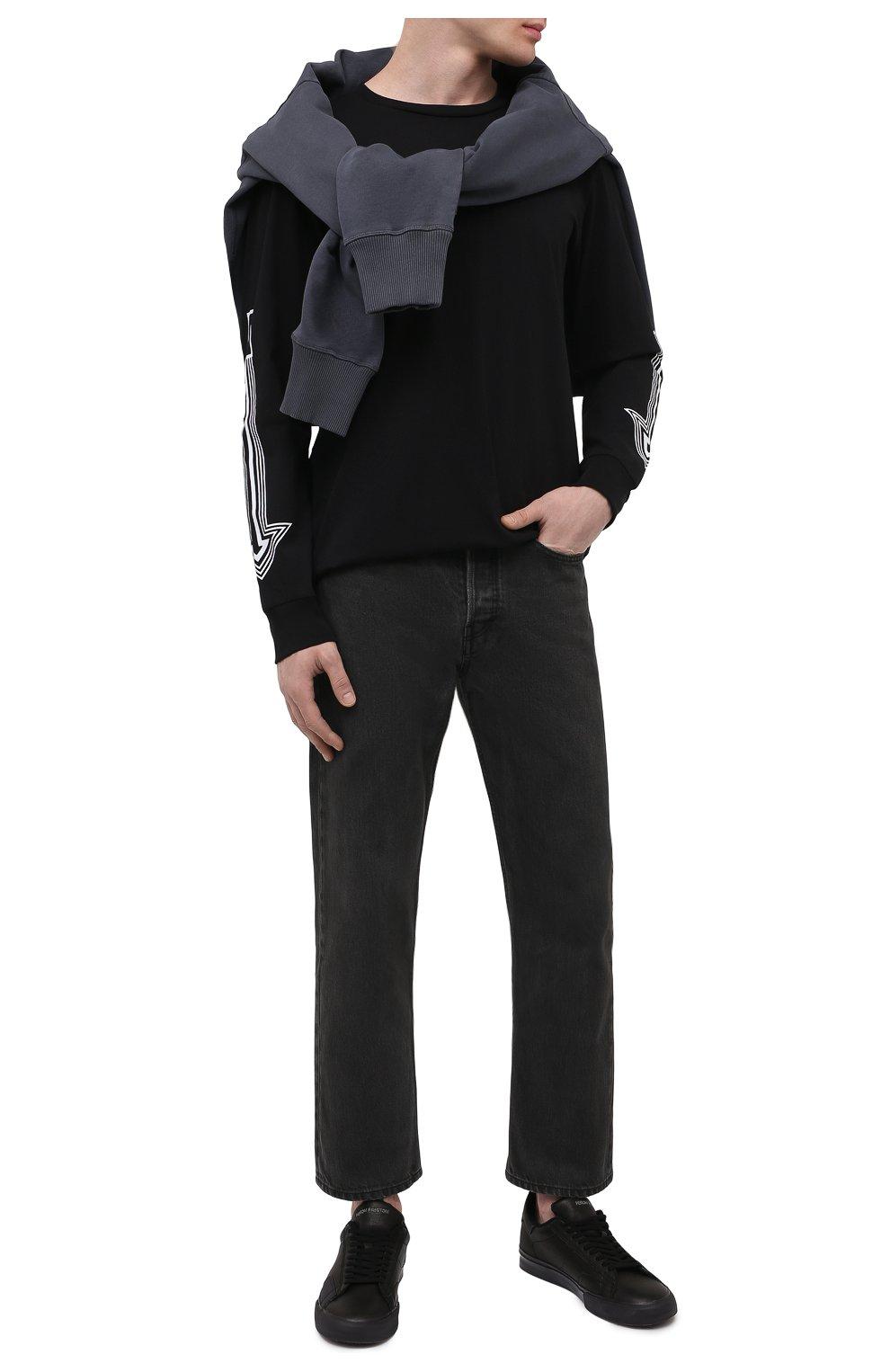 Мужские кожаные кеды HERON PRESTON черного цвета, арт. HMIA017R21LEA0011001   Фото 2 (Материал внутренний: Текстиль; Подошва: Массивная)