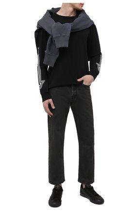 Мужские кожаные кеды HERON PRESTON черного цвета, арт. HMIA017R21LEA0011001 | Фото 2 (Материал внутренний: Текстиль; Подошва: Массивная)