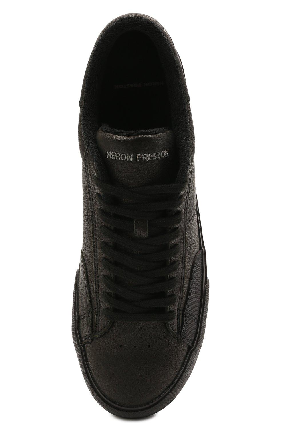 Мужские кожаные кеды HERON PRESTON черного цвета, арт. HMIA017R21LEA0011001   Фото 5 (Материал внутренний: Текстиль; Подошва: Массивная)