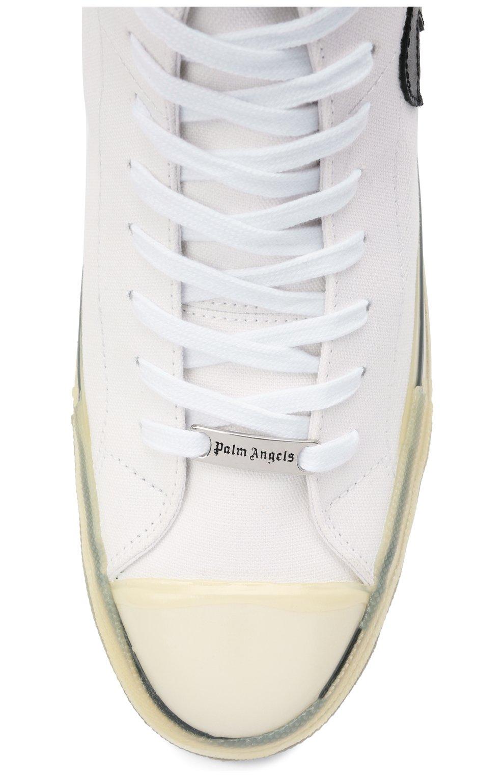 Мужские текстильные кеды PALM ANGELS белого цвета, арт. PMIA048R21LEA0020110 | Фото 5 (Материал внешний: Текстиль; Материал внутренний: Текстиль; Подошва: Массивная)