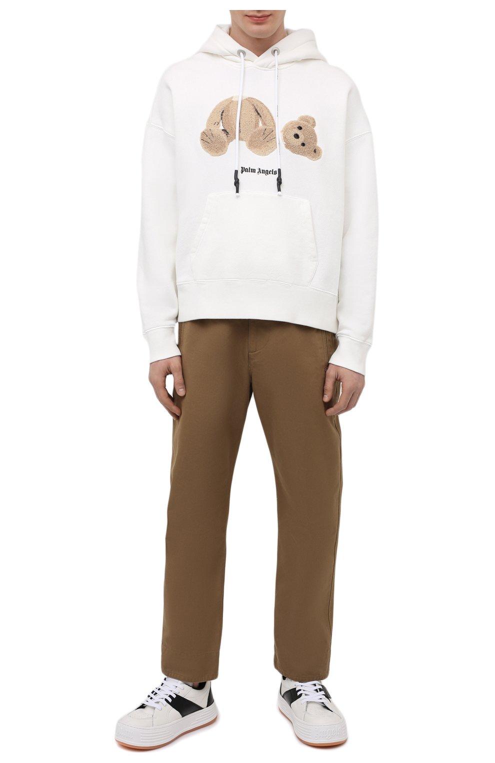 Мужские кожаные кеды PALM ANGELS белого цвета, арт. PMIA051R21LEA0020110   Фото 2 (Материал внутренний: Текстиль; Подошва: Массивная)