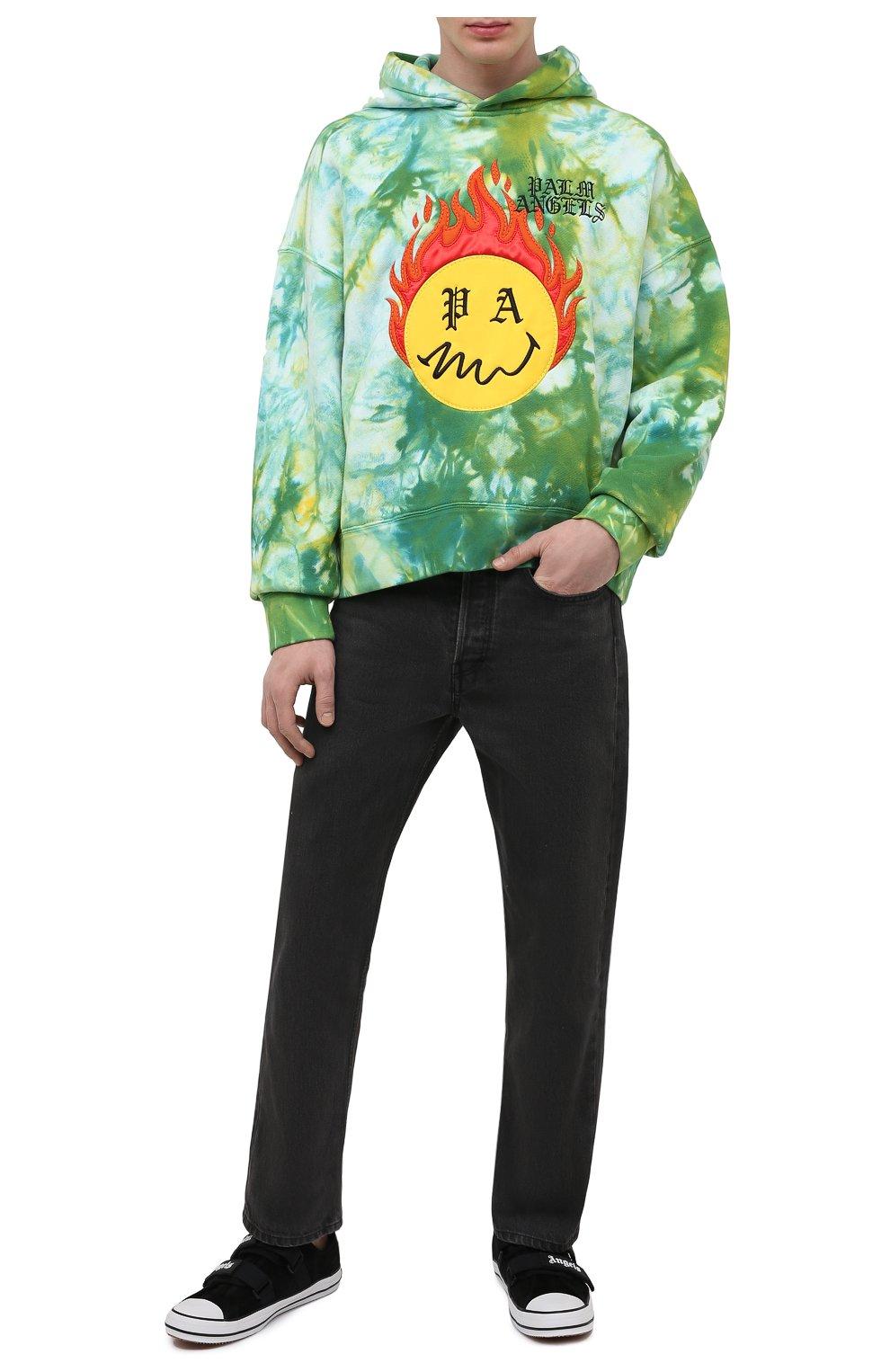 Мужской хлопковое худи PALM ANGELS зеленого цвета, арт. PMBB098R21FLE0035718   Фото 2 (Рукава: Длинные; Длина (для топов): Стандартные; Стили: Гранж; Принт: С принтом; Мужское Кросс-КТ: Худи-одежда; Материал внешний: Хлопок)