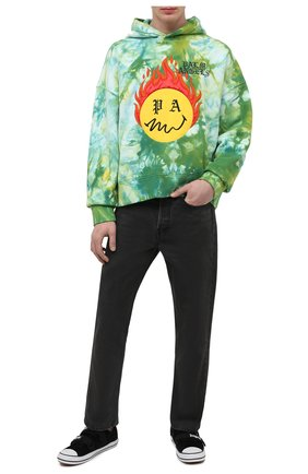 Мужской хлопковое худи PALM ANGELS зеленого цвета, арт. PMBB098R21FLE0035718 | Фото 2