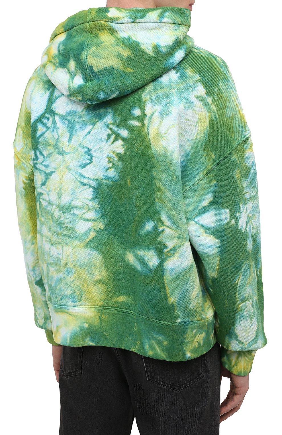 Мужской хлопковое худи PALM ANGELS зеленого цвета, арт. PMBB098R21FLE0035718   Фото 4 (Рукава: Длинные; Длина (для топов): Стандартные; Стили: Гранж; Принт: С принтом; Мужское Кросс-КТ: Худи-одежда; Материал внешний: Хлопок)