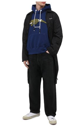 Мужской хлопковое худи PALM ANGELS синего цвета, арт. PMBB058R21FLE0024655 | Фото 2