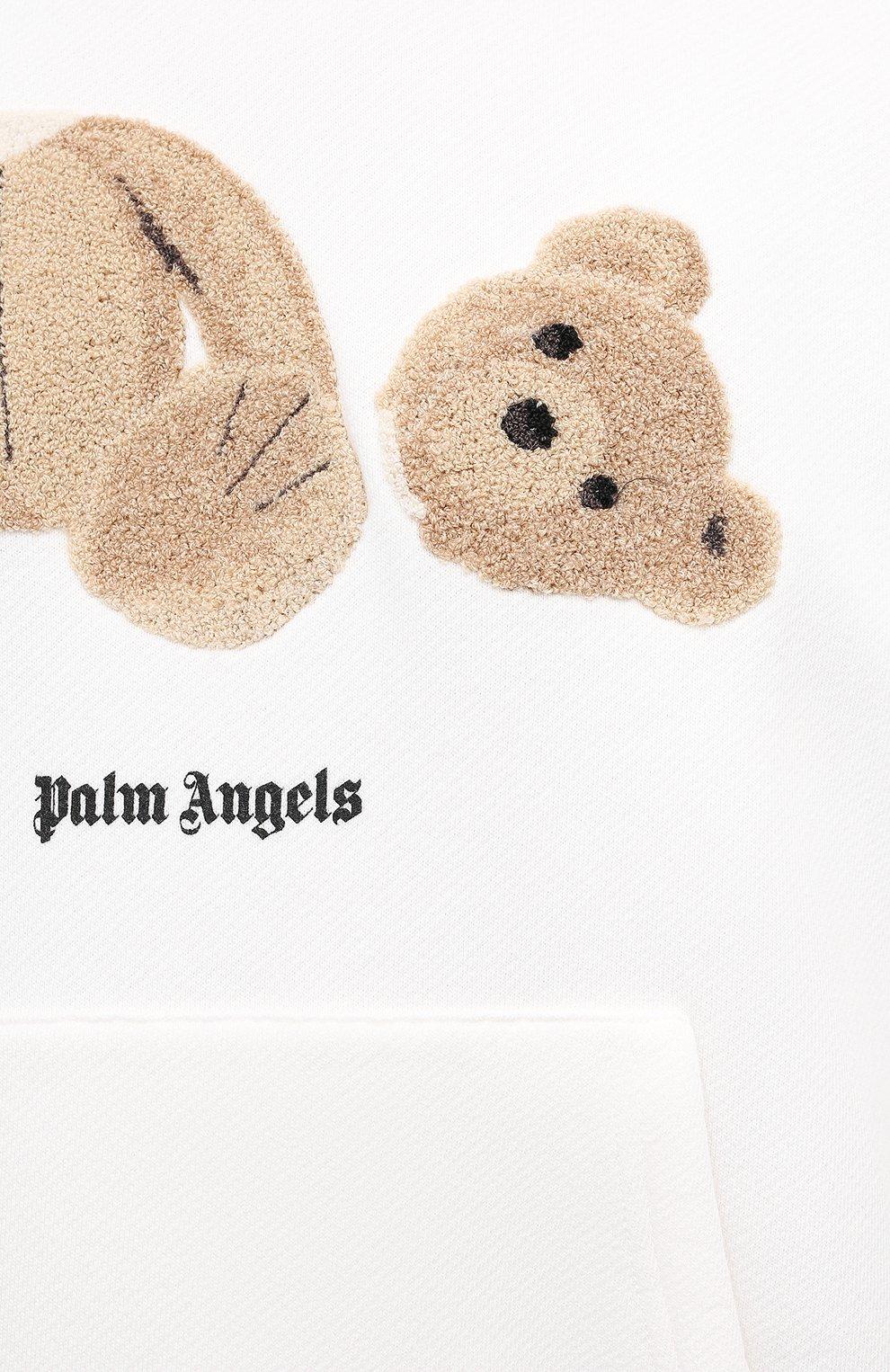 Мужской хлопковое худи PALM ANGELS белого цвета, арт. PMBB058R21FLE0010160 | Фото 5 (Рукава: Длинные; Длина (для топов): Стандартные; Стили: Гранж; Принт: С принтом; Мужское Кросс-КТ: Худи-одежда; Материал внешний: Хлопок)