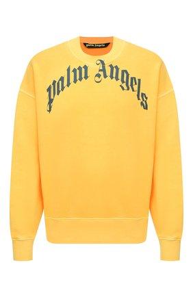 Мужской хлопковый свитшот PALM ANGELS желтого цвета, арт. PMBA026R21FLE0061846 | Фото 1