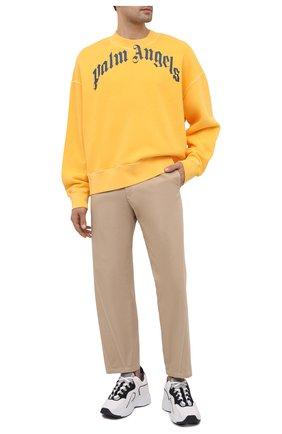Мужской хлопковый свитшот PALM ANGELS желтого цвета, арт. PMBA026R21FLE0061846 | Фото 2