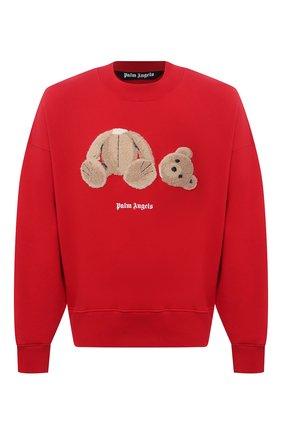 Мужской хлопковый свитшот PALM ANGELS красного цвета, арт. PMBA026R21FLE0012560 | Фото 1 (Длина (для топов): Стандартные; Рукава: Длинные; Материал внешний: Хлопок; Принт: С принтом; Стили: Гранж; Мужское Кросс-КТ: свитшот-одежда)