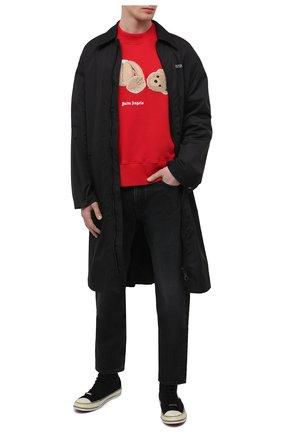 Мужской хлопковый свитшот PALM ANGELS красного цвета, арт. PMBA026R21FLE0012560 | Фото 2 (Длина (для топов): Стандартные; Рукава: Длинные; Материал внешний: Хлопок; Принт: С принтом; Стили: Гранж; Мужское Кросс-КТ: свитшот-одежда)