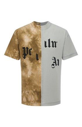 Мужская хлопковая футболка PALM ANGELS хаки цвета, арт. PMAA039R21JER0025684 | Фото 1