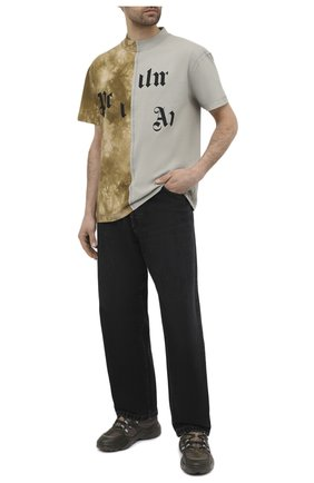 Мужская хлопковая футболка PALM ANGELS хаки цвета, арт. PMAA039R21JER0025684 | Фото 2