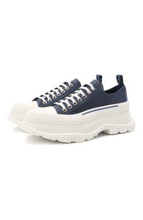 Мужские текстильные кроссовки ALEXANDER MCQUEEN синего цвета, арт. 604257/W4PD1   Фото 1 (Материал внешний: Текстиль; Материал внутренний: Натуральная кожа; Подошва: Массивная; Стили: Гранж)