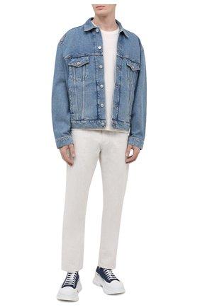 Мужские текстильные кроссовки ALEXANDER MCQUEEN синего цвета, арт. 604257/W4PD1   Фото 2 (Материал внешний: Текстиль; Материал внутренний: Натуральная кожа; Подошва: Массивная; Стили: Гранж)