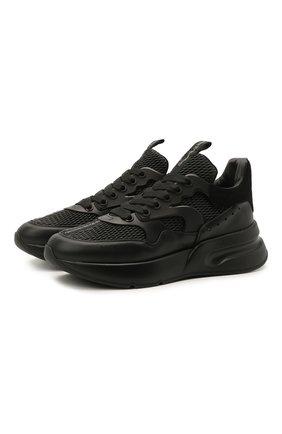 Мужские комбинированные кроссовки ALEXANDER MCQUEEN черного цвета, арт. 604281/WHZT7   Фото 1 (Подошва: Массивная; Материал внутренний: Текстиль, Натуральная кожа; Стили: Гранж)