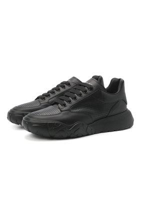 Мужские кожаные кроссовки ALEXANDER MCQUEEN черного цвета, арт. 645887/WHZ9A | Фото 1 (Подошва: Массивная; Материал внутренний: Натуральная кожа; Стили: Гранж)