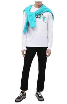 Мужская хлопковый лонгслив DIESEL белого цвета, арт. A01772/0HAYU   Фото 2
