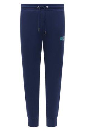 Мужские хлопковые джоггеры DIESEL синего цвета, арт. 00SZLB/0BAWT | Фото 1 (Длина (брюки, джинсы): Стандартные; Материал внешний: Хлопок; Силуэт М (брюки): Джоггеры; Кросс-КТ: Спорт; Стили: Спорт-шик)