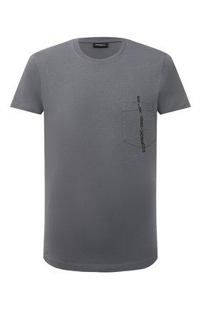 Мужская хлопковая футболка DIESEL серого цвета, арт. 00SASJ/0AAXJ | Фото 1