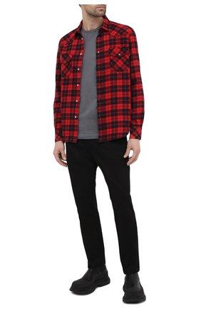 Мужская хлопковая футболка DIESEL серого цвета, арт. 00SASJ/0AAXJ | Фото 2