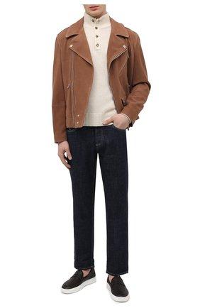 Мужские кожаные слипоны ALDO BRUE темно-коричневого цвета, арт. ABG02L-CM.P.960   Фото 2