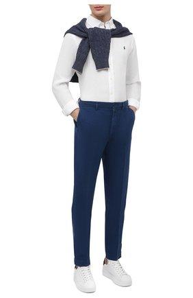 Мужская льняная рубашка POLO RALPH LAUREN белого цвета, арт. 710829449 | Фото 2
