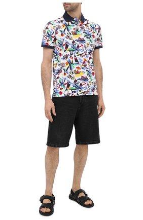 Мужское хлопковое поло POLO RALPH LAUREN разноцветного цвета, арт. 710835228 | Фото 2