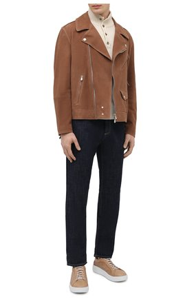 Мужские кожаные кеды W.GIBBS бежевого цвета, арт. 0400037/2106 | Фото 2