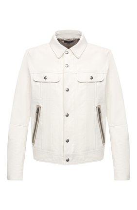 Мужская кожаная куртка TOM FORD белого цвета, арт. BW471/TFL853 | Фото 1 (Материал подклада: Купро; Длина (верхняя одежда): Короткие; Рукава: Длинные; Мужское Кросс-КТ: Кожа и замша; Стили: Кэжуэл; Кросс-КТ: Куртка)