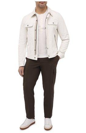 Мужская кожаная куртка TOM FORD белого цвета, арт. BW471/TFL853 | Фото 2 (Материал подклада: Купро; Длина (верхняя одежда): Короткие; Рукава: Длинные; Мужское Кросс-КТ: Кожа и замша; Стили: Кэжуэл; Кросс-КТ: Куртка)