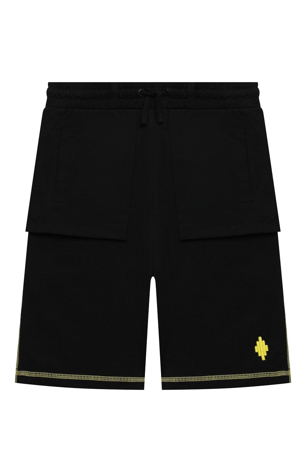 Детские хлопковые шорты MARCELO BURLON KIDS OF MILAN черного цвета, арт. 21E/B/MB/3252/0010/2-6Y | Фото 1 (Мальчики Кросс-КТ: Шорты-спорт; Материал внешний: Хлопок)