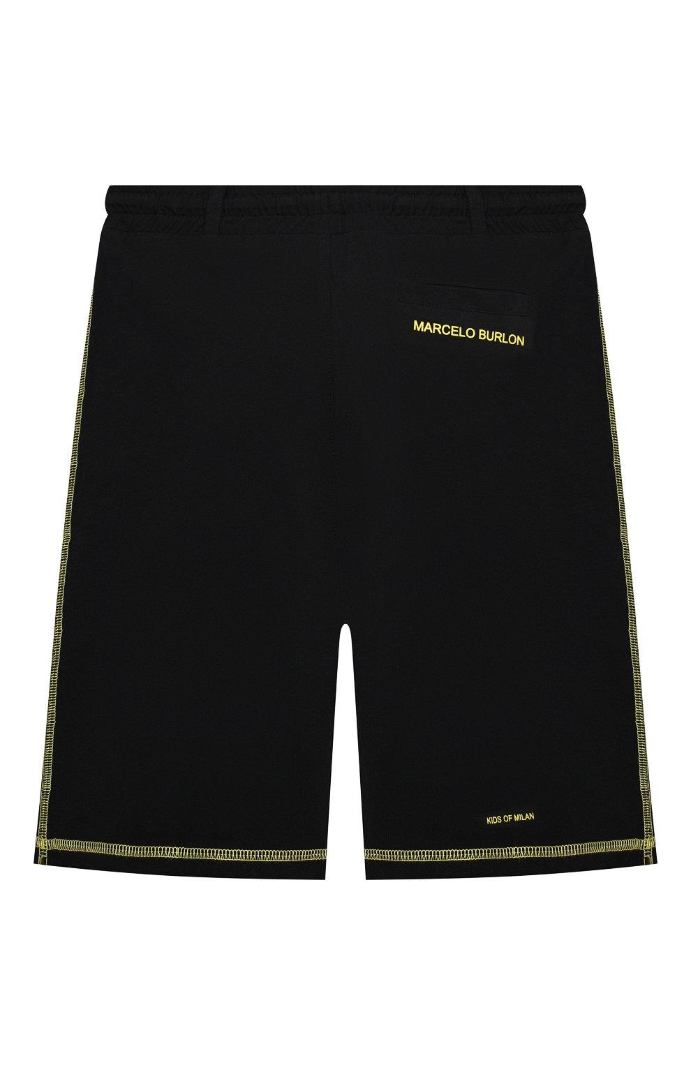 Детские хлопковые шорты MARCELO BURLON KIDS OF MILAN черного цвета, арт. 21E/B/MB/3252/0010/2-6Y | Фото 2 (Мальчики Кросс-КТ: Шорты-спорт; Материал внешний: Хлопок)